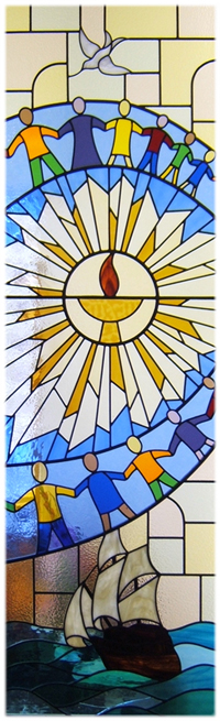 Stained glass window with chalice